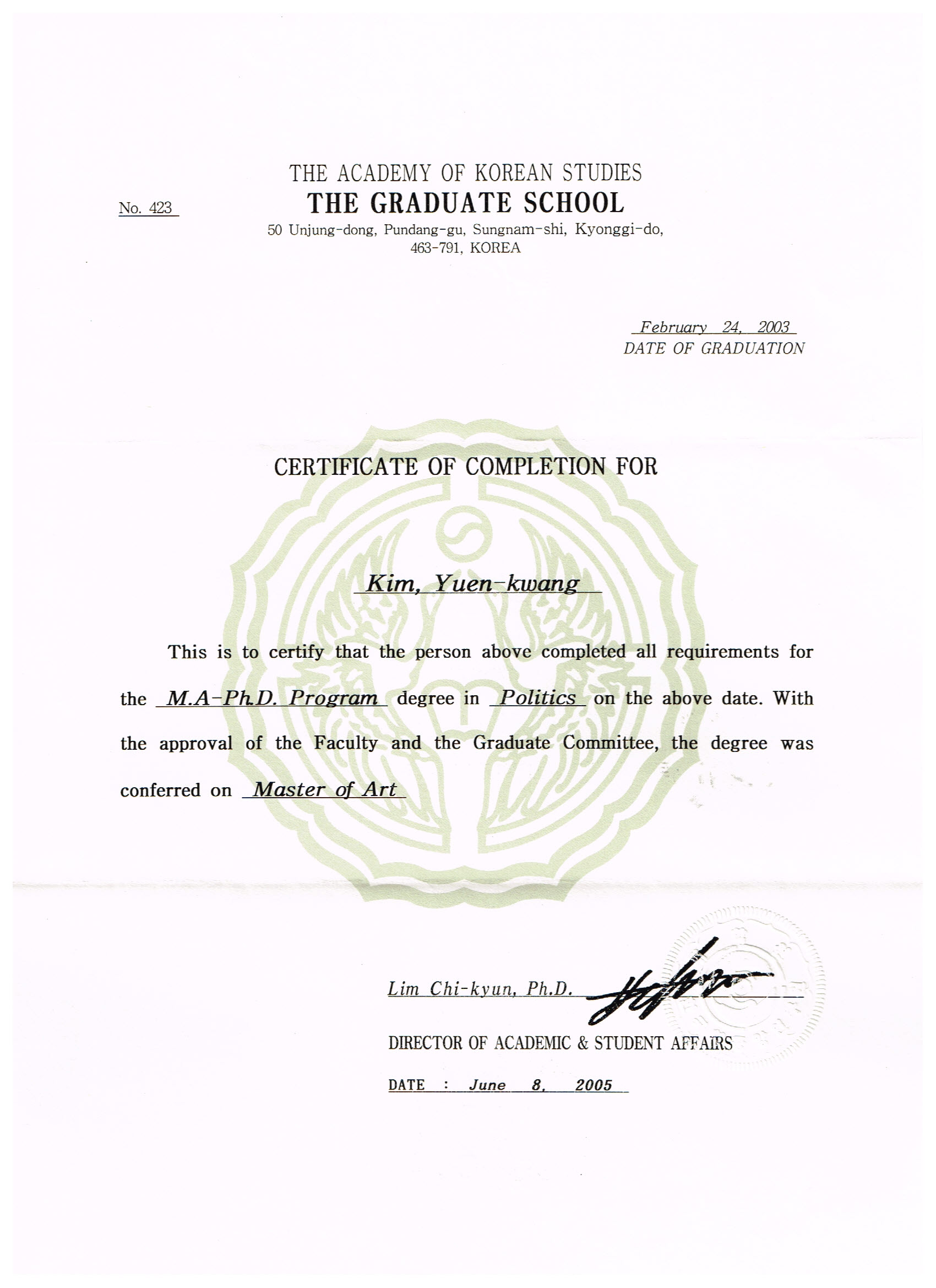 Graduation certificate of master in political science issued by jpg aks certificate xflitez Images