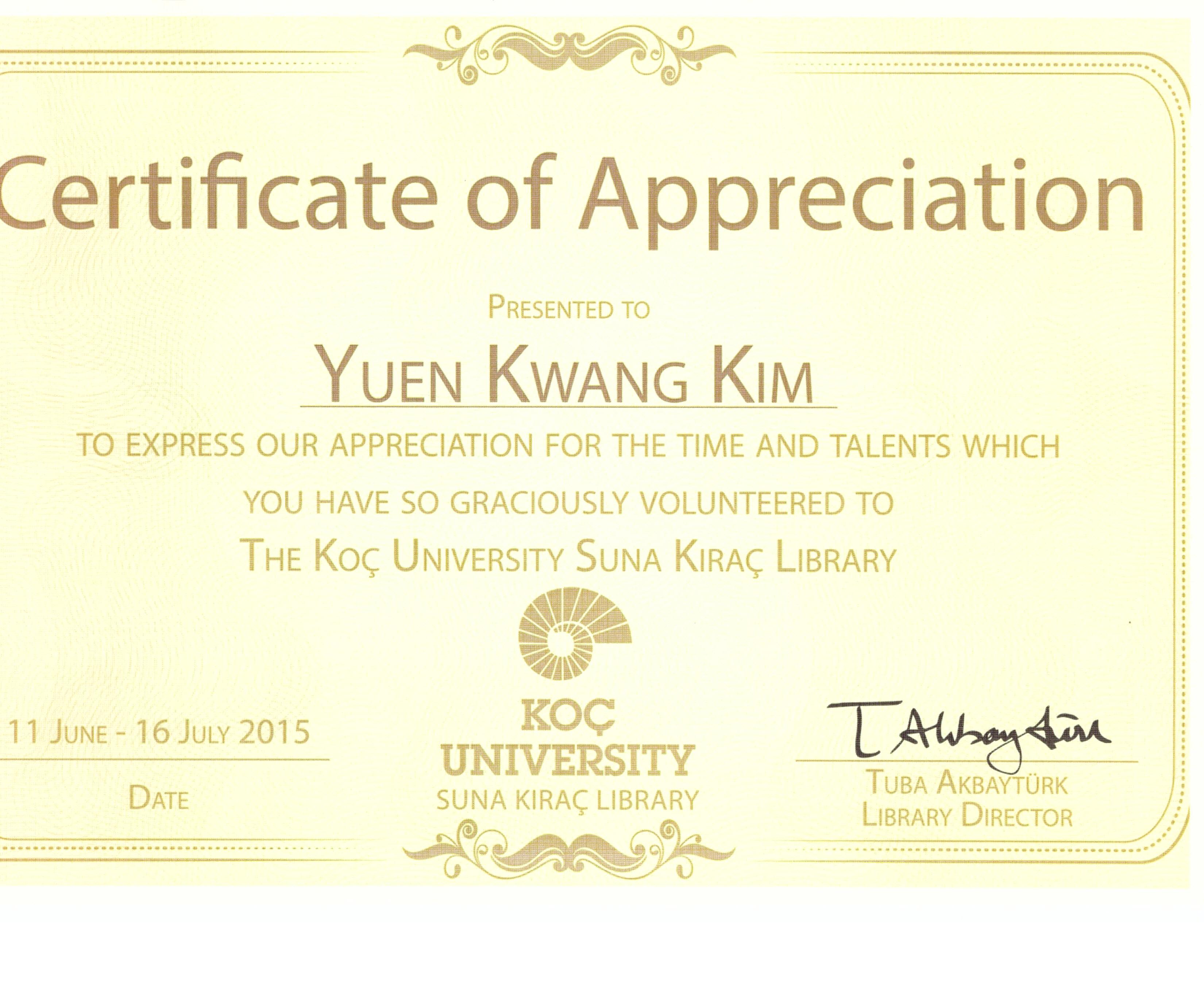 2015 summer internship certificate ko university library convertedcertificate of internship of koc university library yadclub Images